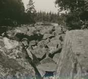 En dammbyggnad i Alsterån vid Björkshult som aldrig blev färdigställd.