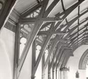 Interiör av Fagerhults kyrka. Takstolar.