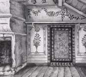 Teckning av interiören från Göljemåla gård med tak- och väggmålnigar.