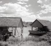 Bodar och storbåt på Strupö. Foto: 23/07 1948.