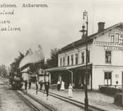 Vykort med motiv av järnvägsstationen i Ankarsrum.