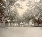 Infarten till mangården sedd från landsvägen. Porten och de två fatburarna är synliga.