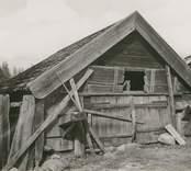 Foto:M.Dyfverman och M.Rehnberg 1937 Svinhus. 4 skilda avbalkningar. Längd 4,20m. Bredd 3,50m. Höjd till takfoten 0,83m. Bakom svinhuset en gård inhägnad av stenmur.