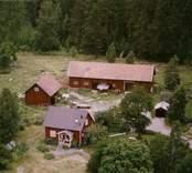 En gårdsmiljö invid skogen, i Döderhult.