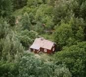 En tillbyggd stuga, omgiven av skog, i Döderhult.