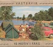 Pappersmapp med 10 Västerviksmotiv i färg.  Framsida.