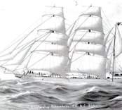 En så kallad kaptenstavla, föreställande barken Glentora av Oskarshamn.