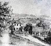 Teckning på en herrgårdsmiljö. Casimirsborgs gård före den stora branden.
