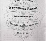 Priskurant, framsidan. Reproduktion ur Överums Bruks katalog c:a 1860.