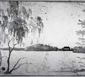 Teckning av Thersner. Motiv föreställande vattendrag och herrgård.