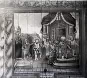 En väggmålning i Hjorteds kyrka.