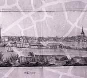 Vy över staden och Slottsholmsvarvet. Blyertsteckning omkring 1840, osignerad.