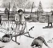 Teckning av K. Sabelström som visar då Elias Nilsson i Kråksmåla arrangerade ett missöde på vägen.