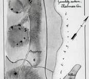 Karta över en samling forngravar ritad av Hans Hansson 1906.