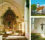 Vykort med interiör och exteriör från Gärdslösa kyrka.