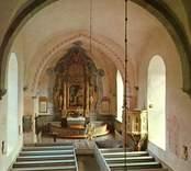 Vykort med interiör av Gärdslösa kyrka.