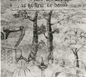 Kalkmålning. Detalj med Peter Bundis signatur.