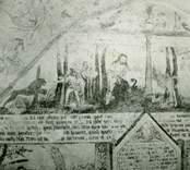 Målning på korväggen i Gärdslösa kyrka med bibliskt motiv från berättelsen om Kain och Abel.