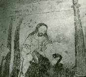 Målning på korväggen i Gärdslösa kyrka med motiv från berättelsen om Kain och Abel.