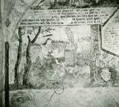 Målning på korväggen i Gärdeby kyrka, med bibliskt motiv.