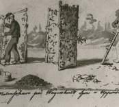 """Teckning som illustrerar sökandet efter myrmalm med titeln """"Malmsökare på Wögenshult sjön i Uppvidinge Härad af Småland?"""""""