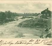 """Axel Melchior, Oskarshamn. Imp.  Högsby.  """"den 29 juni 1901 Hjärtliga hälsningar från Albin.""""  Kvarnen Obs! Träbron i bakgrunden. Vykort, avsänt 29 juni 1901."""""""