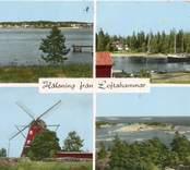 Kolorerat vykort med fyra bilder från Loftahammar. Ortens och socknens havsnära läge präglar bilderna, som inrymmer skärgårdsmotiv, väderkvarn och skuta.