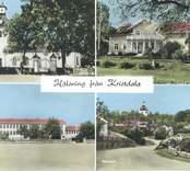 Kolorerat vykort med motiv från Kristdala. Förutom kyrkan återfinns bland motiven även prästgården och skolan samt ett gatuparti från orten. Vykortet kan vara från slutet av 1960-talet.