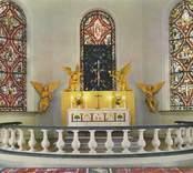 Vykort med motiv från altaret i Madesjö kyrka.
