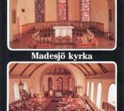 Vykort med interiörbilder från Madesjö kyrka.