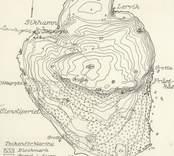 Karta över Blå Jungfrun ur K.L. Årsbok 1948.