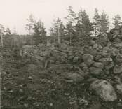 Röse, undersökt 1956 av. Ekelund och KG. Petersson.  Parti av rösets brätte.  Foto ATA