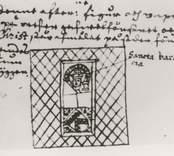 Rhezelius. KB. Denne efter:ne figur och vapen står på wester gafwelfönstret och S.Christ står afmålat på söder fönstret bärandes Christum på ryggen..