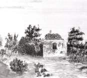 Ruinen efter Ukna gamla kyrka. Akvarell av Eric Ihrfors omkring 1880.