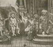 Takmålning i Hjorteds kyrka som föreställer Jesus inför Pontius Pilatus. Den flyttades från den tidigare medeltida stavkyrkan innan den revs på 1770-talet. Målningen är daterad till 1731-1734