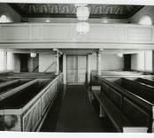 Orgelläktaren i Hälleberga kyrka innan branden 1976.