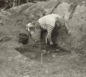 Arkeologisk undersökning  Boplats C:1. Under utgrävning, från norr.