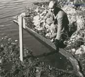 Stockbåt, funnen i Rismåla göl sommaren 1959. Upptagen och förd till kyrkstallarna i Madesjö. Träslag: furu. L. 4 m. Br. 0,6 m.1