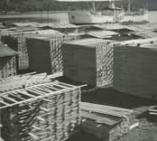 Virkesupplag vid hamnen i Edsbruk.