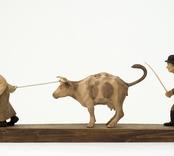 Motsträvig ko/Till marknaden  [Skulpturgrupp]