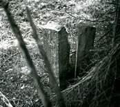 Gränssten och vägmärke av trä vid södra kanten av en gammal vägslinga, cirka 500 meter öster om Smältebro. På stenen står: STRANDA. På trästolpen står ett nästan helt utplånat ord och under detta: 1/6  Från norr