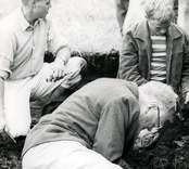 Kung Gustaf VI Adolf,  som var känd för sitt intresse för arkeologi deltog i utgrävningarna vid Skedemosse.