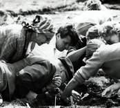 Kung Gustaf VI Adolf och Ulf Erik Hagberg under utgrävningarna av Skedemosse.