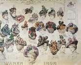 Hattmode, våren 1898. Modeplansch.