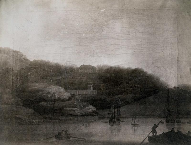 Rød, Halden, Østfold. Fotografi av maleri, kunstner C. Lorentzen. Båter på vannet mot Rød. Den kulturhistoriske utstilling i Kristiania 1901. (Foto/Photo)